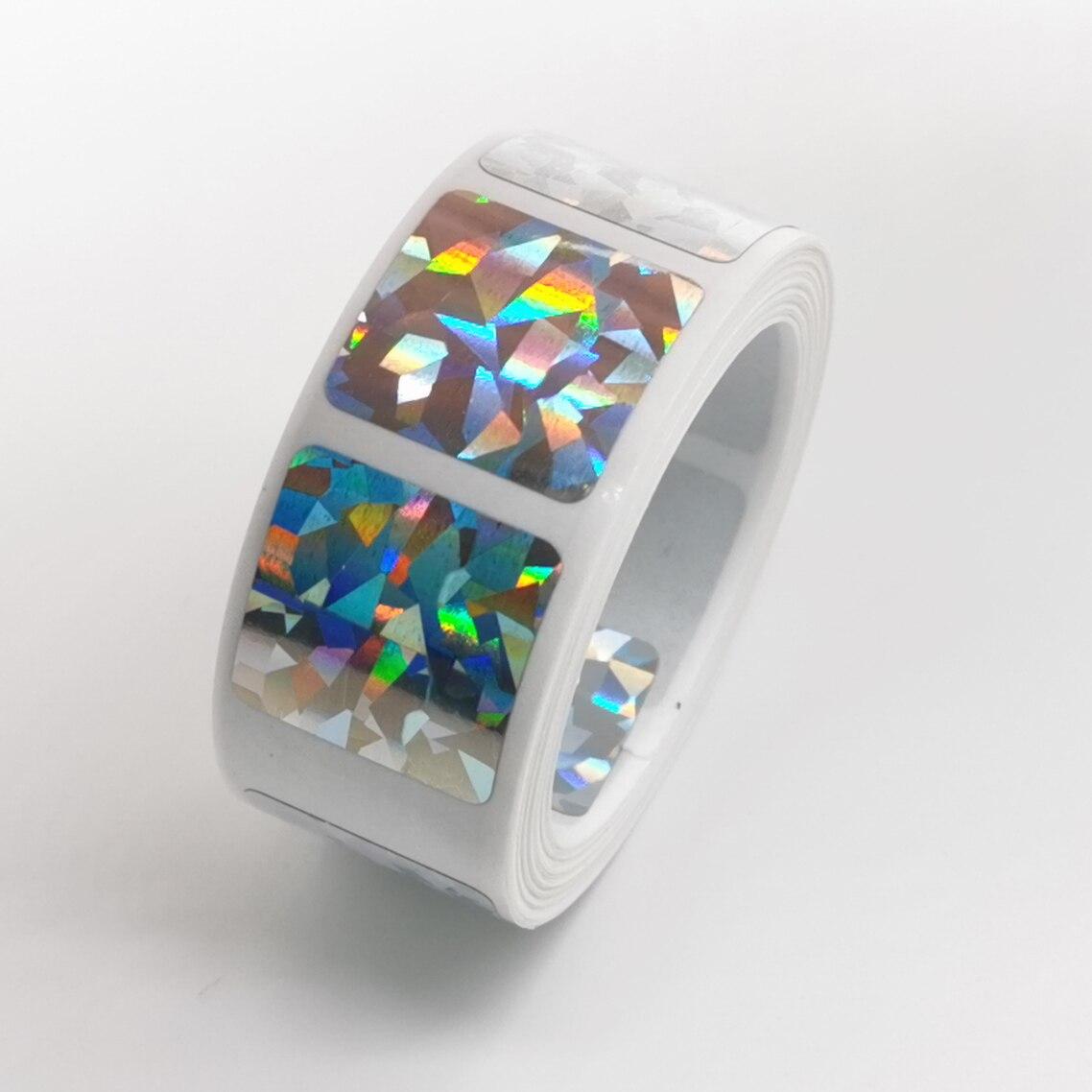 500Pcs Scratch Off Stickers 20*20mm Square Diamond laser Color Metallic Hologram game Scratch Sticker   Wedding card