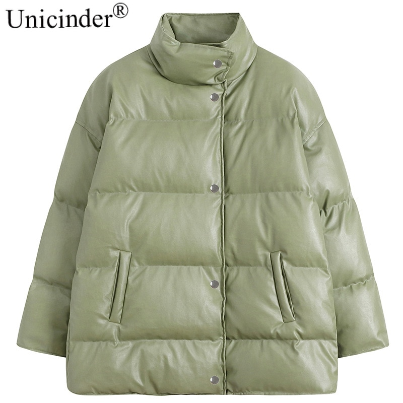 Unicinder 2021 Faux Leather  High Street  Leather Jacket Women  Full  Turn-down Collar  Lime Green Leather Jacket Womens Jacket enlarge