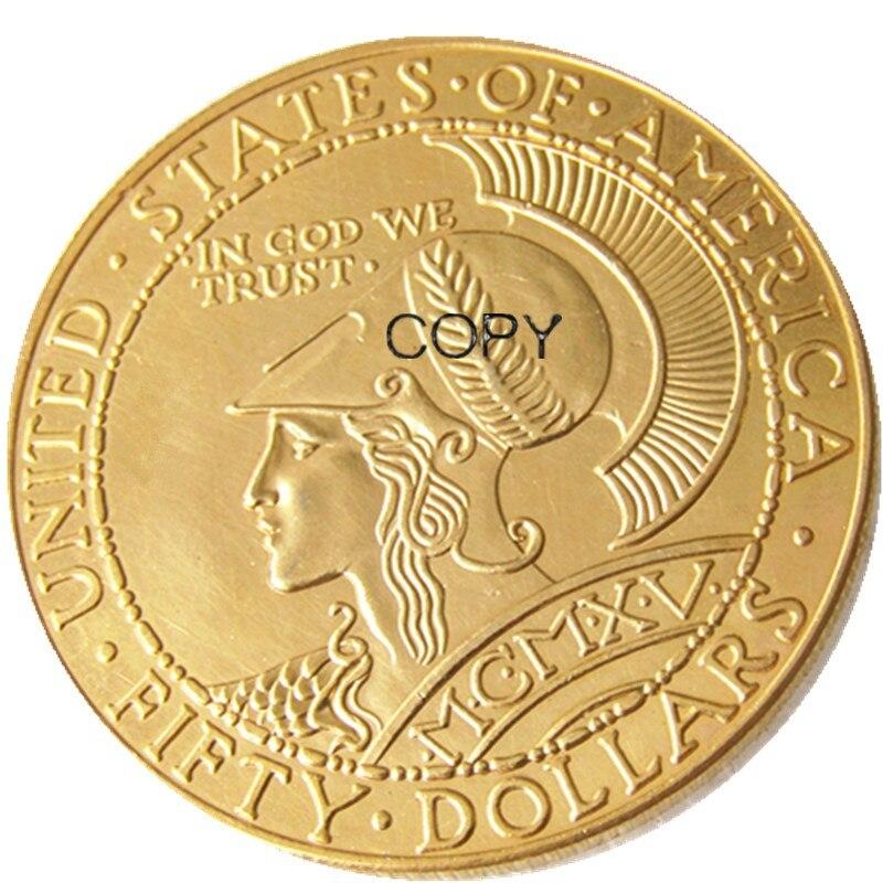 1915-s $50 panamá-pacífico moeda redonda cinqüenta dólares real banhado a ouro moedas de cópia americana