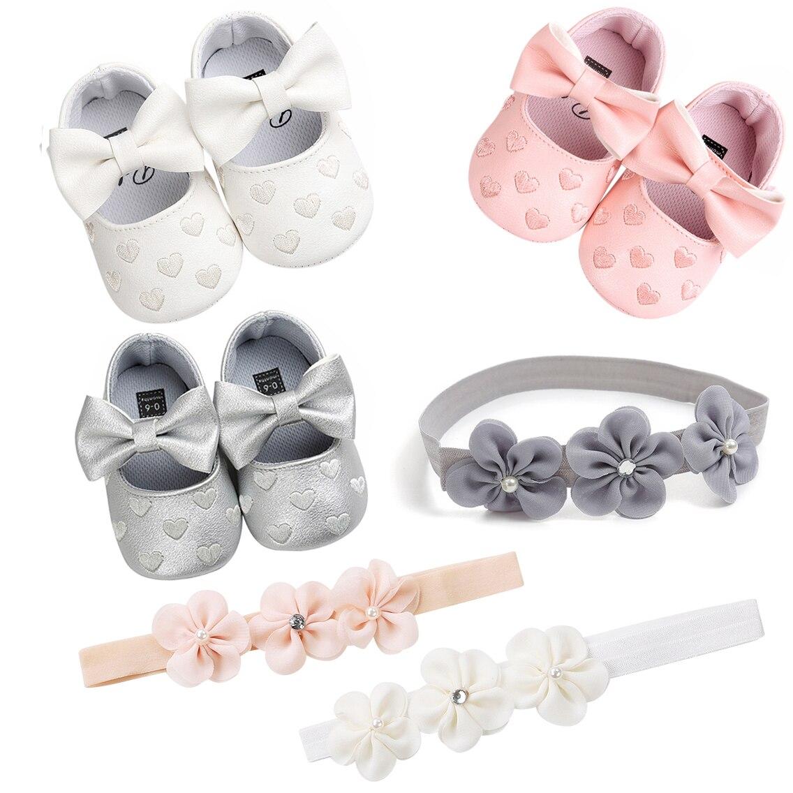 Goojoy 2020 bébé baptême chaussures et bandeau ensemble mignon coeur princesse doux respirant robe chaussures et fleur bandeau