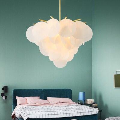 Lamparas colgantes románticas postmodernas modelo de habitación hoja acrílica redonda sala de estar comedor forma de flor luces colgantes
