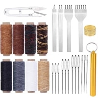 kaobuy 27pcs leather working kit prong punch large eye stitching needles waxed thread leather sewing tools for leather craft