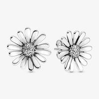 2020 fashion 100 925 sterling silver earrings pink daisy flower stud earrings women anniversary engagement jewelry gift