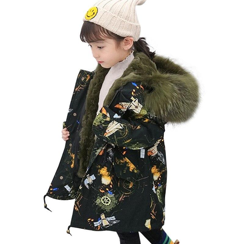 Énorme col de fourrure enfant Parka réel Rex fourrure de lapin hiver enfants manteau de fourrure garçons filles doublure détachable coloré enfants fourrure Parkas