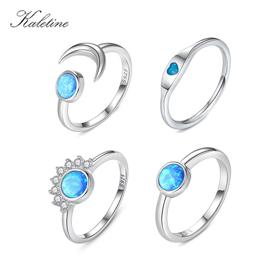 Kaletine 925 Plata de Ley Boho Midi Luna corazón anillos de perlas para mujeres Opal anillo de dedo de cristal regalos de joyería para boda femenina