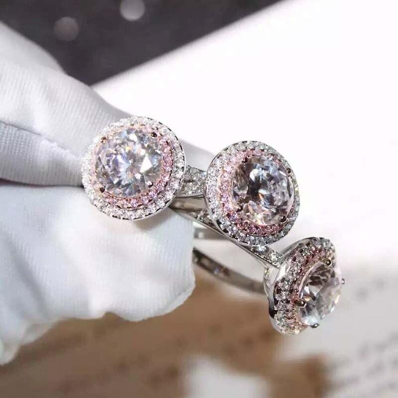Anillo de plata de ley S925 VS2 con diamantes para mujer, anillo de Plata de Ley 925