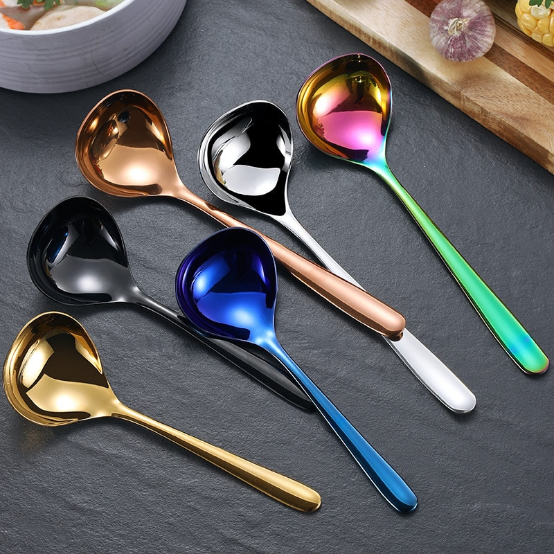 304 Stainless Steel Spoons Thickened To Drink A Spoon and Use A Sauce Spoon with A Large Round Spoon Spoon Spoon Spoon HZT