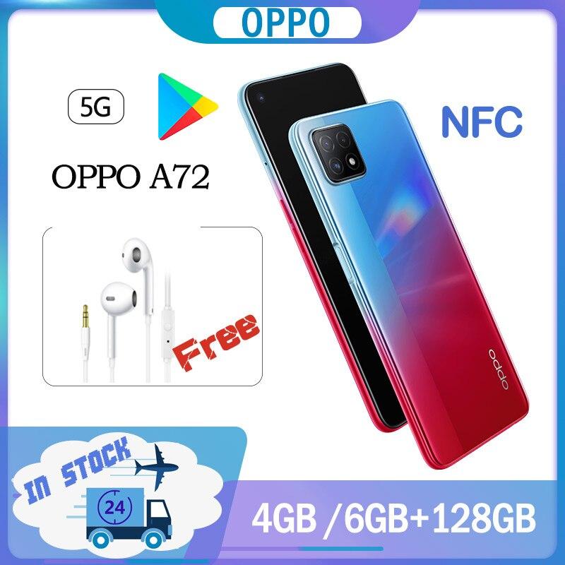 OPPO A72 5G смартфон 4GB Ram 128GB Rom Оригинальное официальный Новое 6,5 Дюймов 90 Гц 6 ГБ 128 MT6853V 2400x1080 18 Вт Зарядное устройство NFC Google