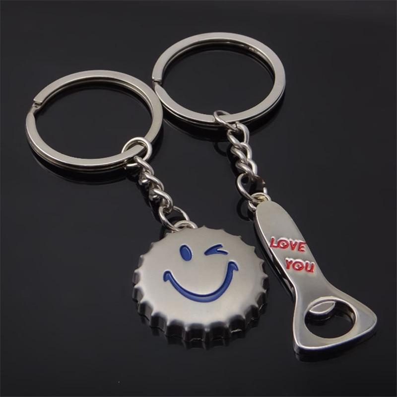 1 par de llaveros para los enamorados botella de cerveza abridor llavero te amo llavero moda llavero joya de regalo