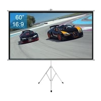 60 inch 169 portable indoor outdoor projector screen matte gray fabric fiber with pull up foldable stand tripod
