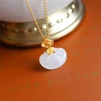 natural hetian jade white jade s925 sterling silver pendant ruyi pendant xiangyun safety lock longevity lock necklace ladies