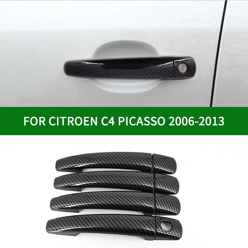 Accesorio para CITROEN Grand C4 PICASSO 2006-2013 MPV, patrón de fibra de carbono para manija de puerta lateral de coche, cubiertas de molduras 2007 2008 2009 2010