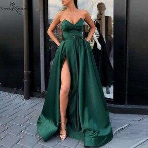 Dark Green Satin Evening Dresses Long High Split Sweetheart Zipper A-Line Simple Formal Gowns Prom Party Dress Vestido De Festa