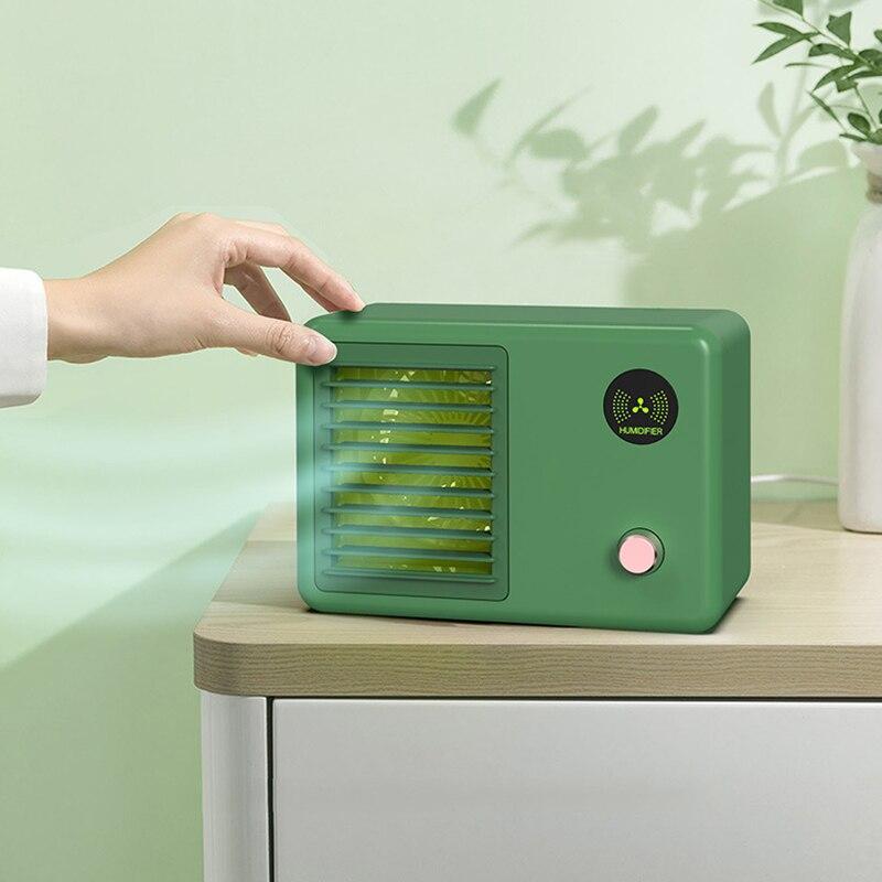 مبرد الهواء الشخصي اللاسلكي هادئة التبريد جهاز ترطيب محمول قابلة للشحن مروحة مكيف هواء صغير للمنزل غرفة مكتب السيارة
