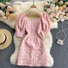 2021 Summer Women Dress Cute Puff Sleeve Mini Jacquard Square Collar Beaded Button Slim Bodycon Penc