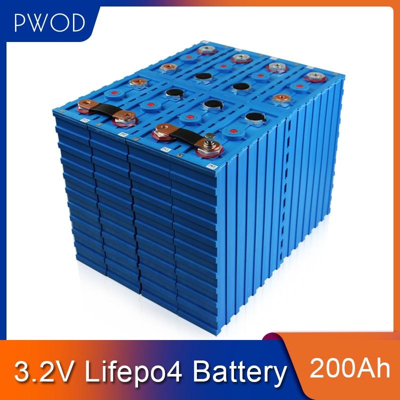 PWOD 16 قطعة 3.2 فولت 200ah LiFePO4 بطارية حزمة 48 فولت 200AH لتقوم بها بنفسك الليثيوم الحديد الفوسفات خلايا EV RV قارب قارب الشمسية الاتحاد الأوروبي الولايا...