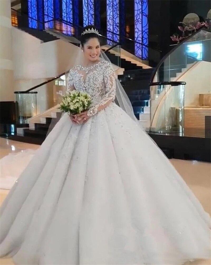 يتوهم الديكور الدانتيل فستان الزفاف الوهم طويل الأكمام الكرة ثوب الزفاف فستان الزفاف