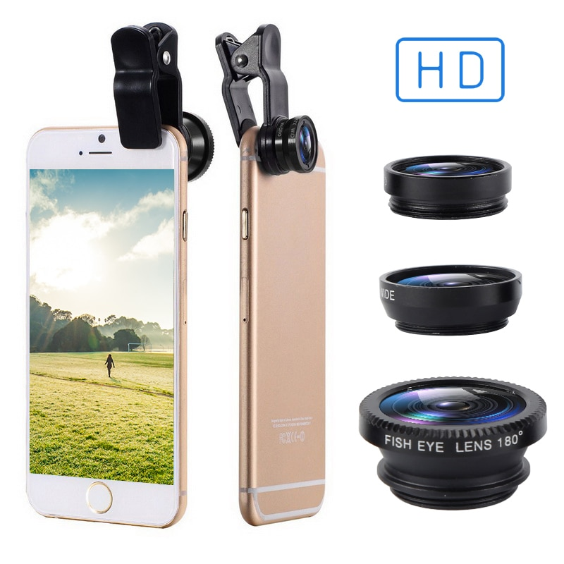 3-in-1 Fish Eye Lenses With Clip 0.67x For IPhone Samsung All Cell Phones Wide Angle Macro Fisheye L