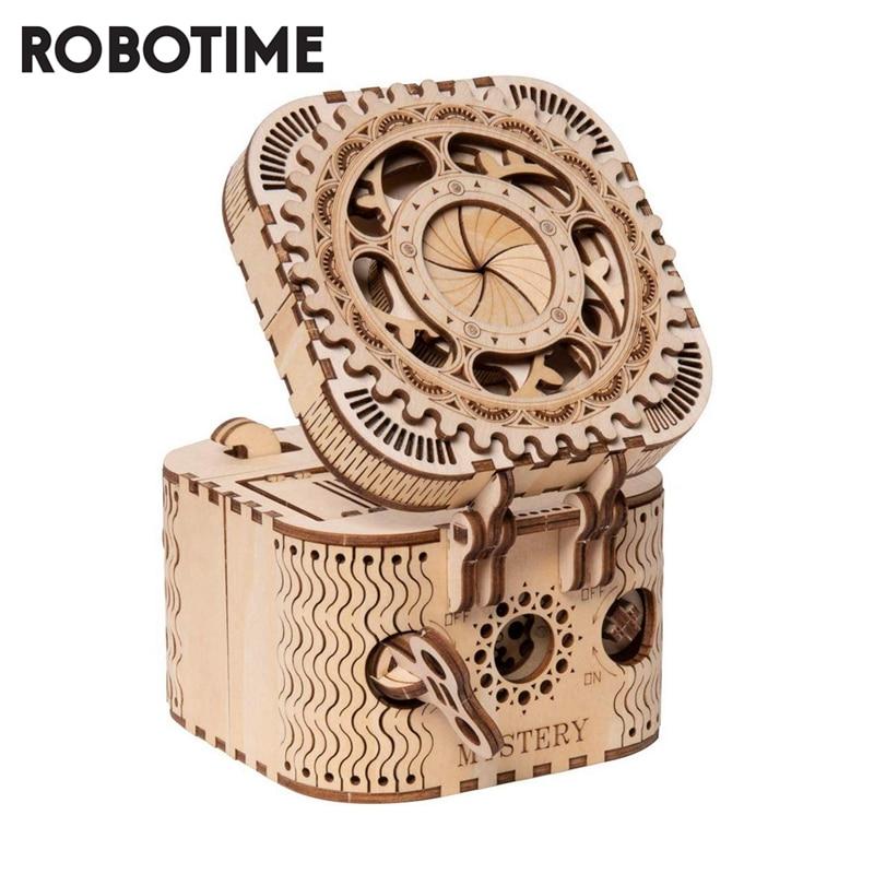 Robotime 123 قطعة الإبداعية DIY بها بنفسك ثلاثية الأبعاد صندوق خزانة المجوهرات خشبية لغز لعبة الجمعية لعبة هدية للأطفال المراهقين الكبار LK502