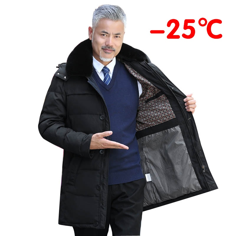 2021 winter thick long men's down jacket luxury high quality fur collar new style middle age men casual warm hooded down coats