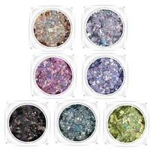 New Hybrid Sequins Glitter Round Colorful Glitter Pots Nail Face body Shadow Glitter Beauty Makeup Shinning Glitter Powder