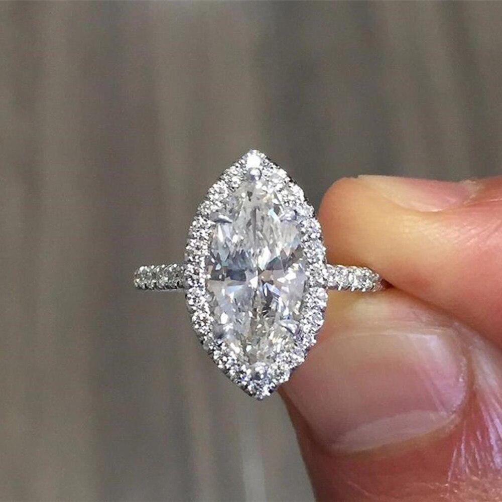 Huitan magnifique unique Marquise cubique zircone femmes bague proposition bague pour petite amie conception Simple Bling CZ dame anneaux