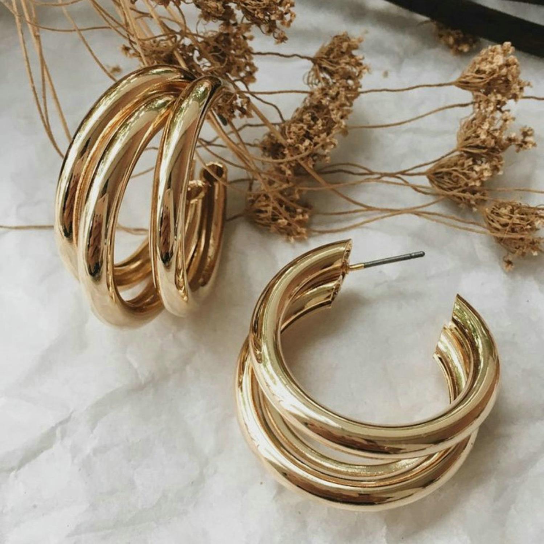 INS Hot Brass Three Triple Hoop Earrings Vintage Gold Color Cheap Metal Elegant Chunky Statement Earrings fashion jewelry