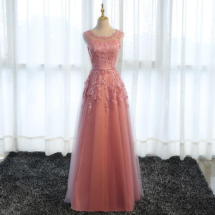 Beauty-Emily Long Elegant Bridesmaid Dresses 2020 Lace O Neck Wedding Guest Dress Tulle Wedding Part