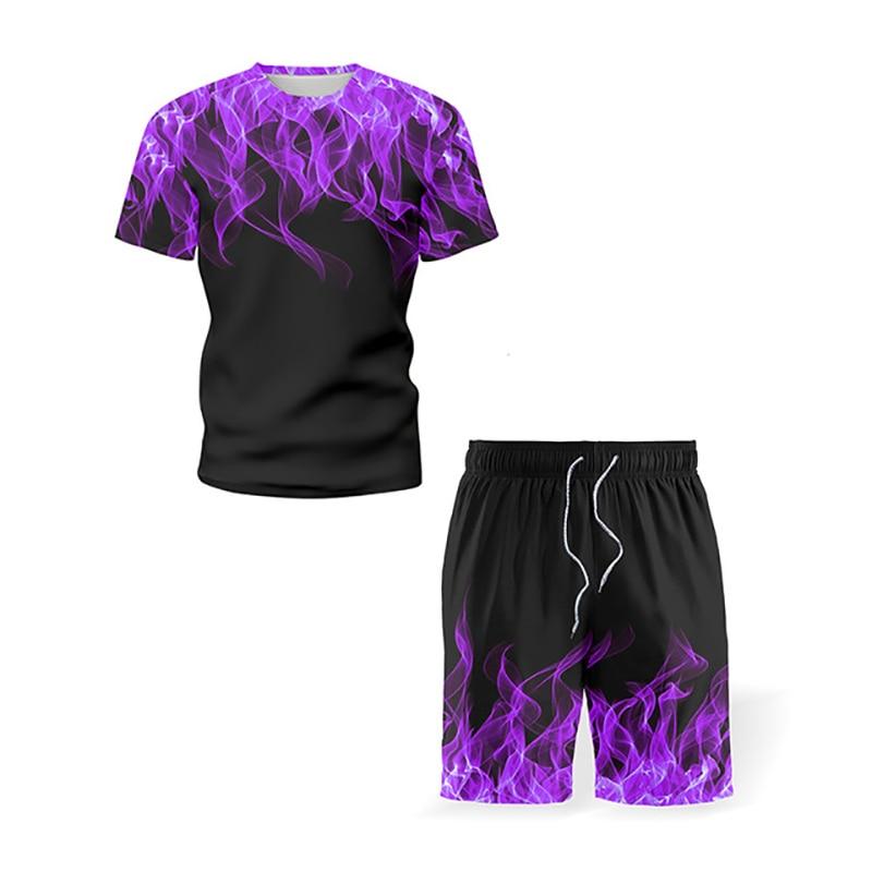 Traje deportivo para hombre de camiseta de manga corta con estampado floral...