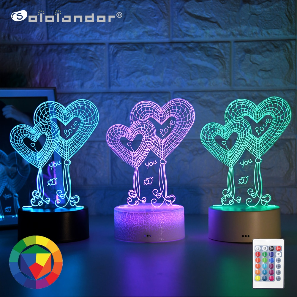 Newest Kid Light Night 3D LED Night Light Creative Table Bedside Lamp Romantic Double Heart light Kids Gril Home Decoration Gift kids light night 3d led night light creative table bedside lamp unicorn light kids home decoration toys gift 3d led lamp 7 color