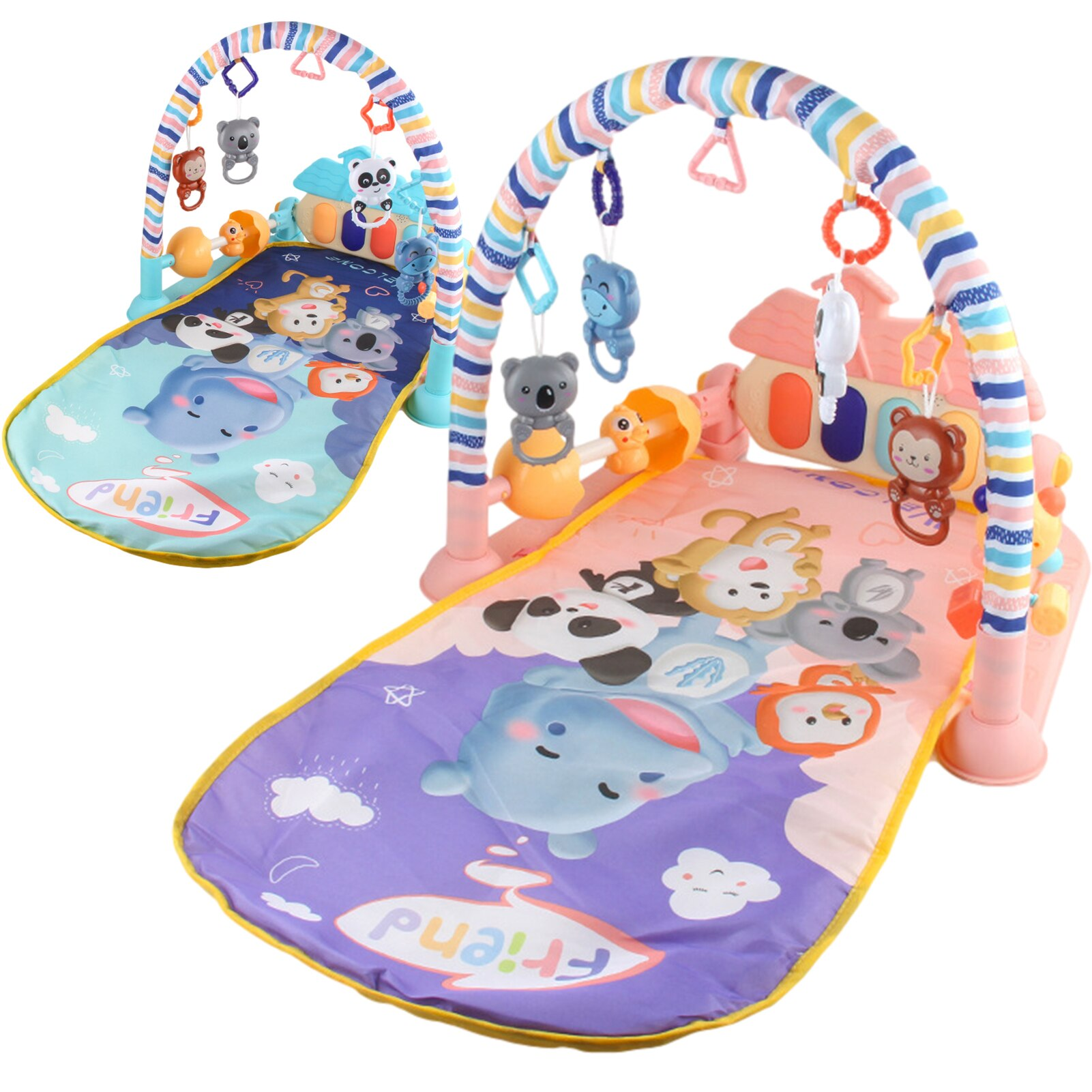 infant baby flying chess waterproof play mat early learning toy fitness bodybuilding frame crawling mat kick play lay sit toy Baby Toy Fitness Frame Upgrade Double Side Protection Fence Baby Play Mat Activity Gym Kick Piano Keyboard Baby Jungle Mat