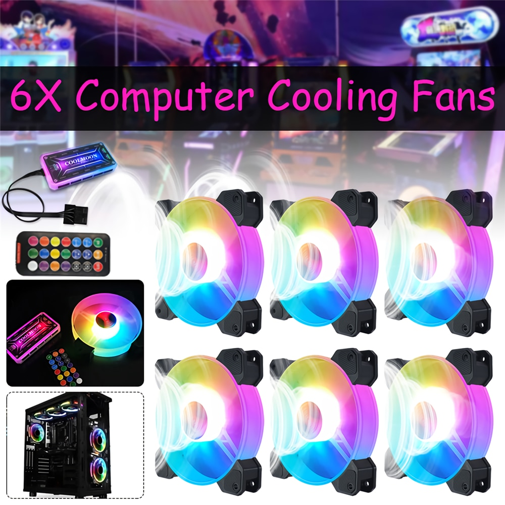AliExpress - 6pcs RGB Adjust LED Fan Cooler 12V 6Pin 120mm Cooling Fan Heatsink PC Computer Silent Fan Gaming Case Cooler Fan With Controller