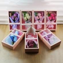 Simulation de fleur de Rose de savon   Cadeau de la saint-valentin avec boîte-cadeau, Bouquet de fleurs éternelles, décoration pour fête des mères ou réception de mariage