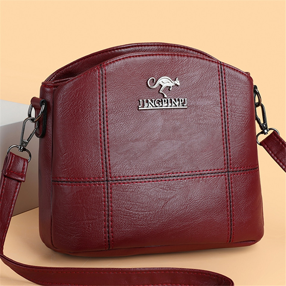 Solid Leather Small Crossbody Bags for Women 2021 New Multi-Pocket Simple Messenger Bag designer Casual Shoulder Bags Sac A Main