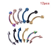 10pcs12pcs stainless steel colorful eyebrow ring body piercing navel ring belly button earrings lip ring piercing jewelry