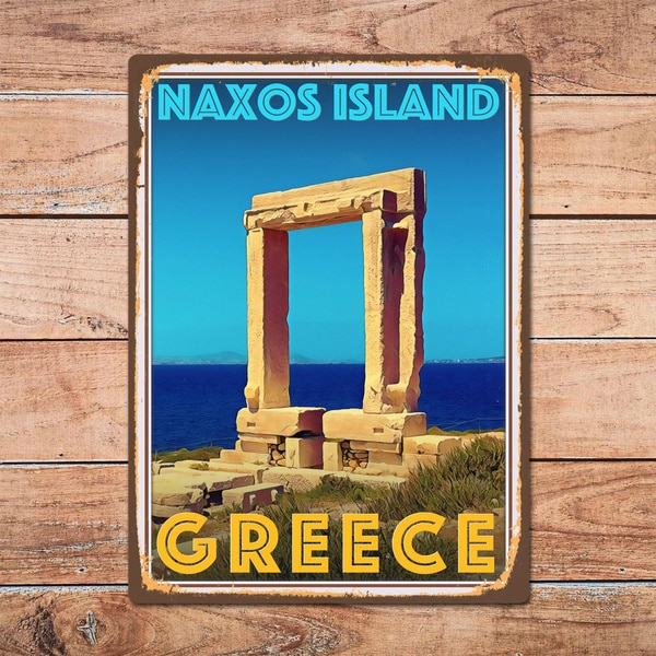 Naxos Island Greece Metal Tin Sign Metal Sign Home Room Wall Decor Retro Vintage Style Travel Poster Bar/Pub/Man Cave