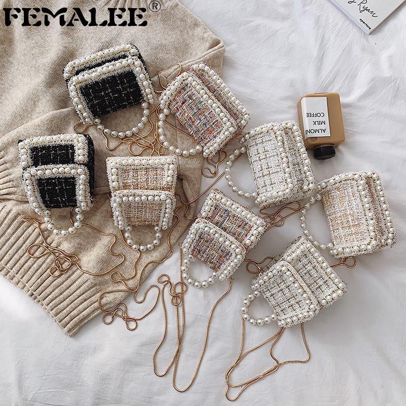Weaving Luxury Crossbody Bags For Women Winter Tweed Woolen Tote Pearls Bag Small Designer Handbags Chains Female Messenger Bags