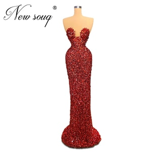Burgundy Beaded Mermaid Evening Dress Couture Newest 2020 Robe De Soiree Islamic Kaftans Prom Dresses Women Party Gown Arabic