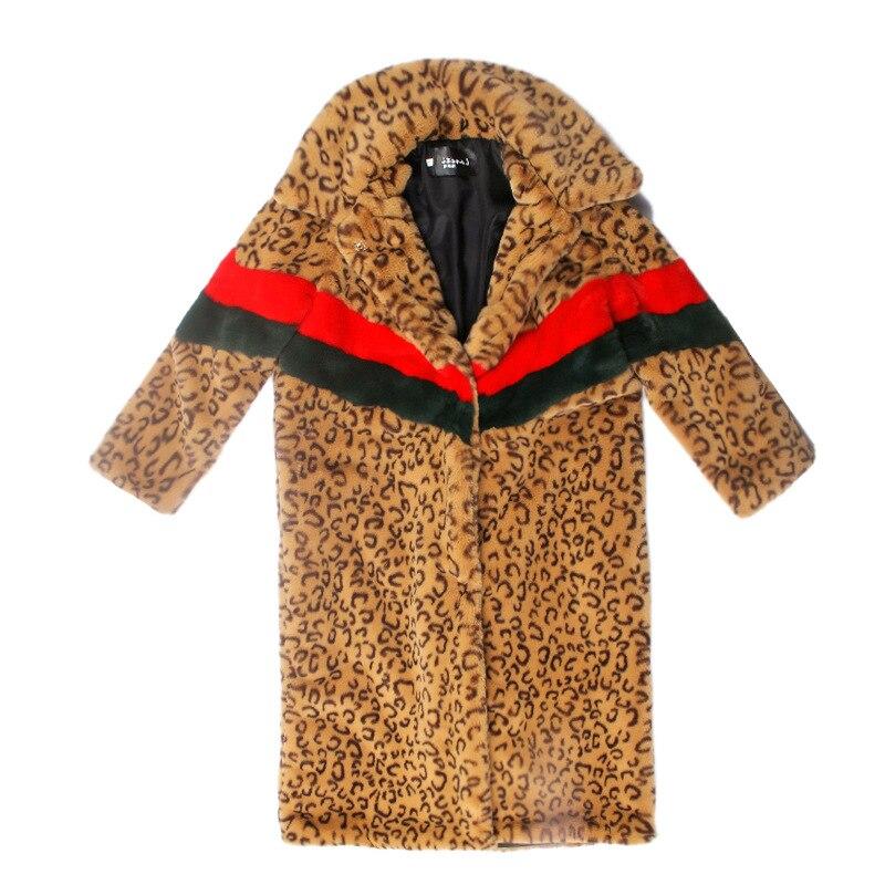 Abrigo largo de piel sintética de leopardo para mujer, ropa de abrigo...