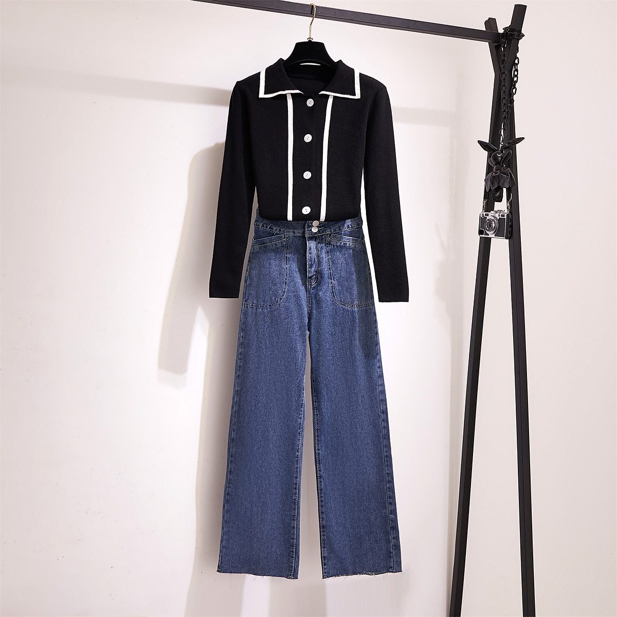 Шикарная ветровка поло цветной вязаный кардиган с длинными рукавами свитера брюки джинсы с высокой талией комплект одежды из двух предмето...