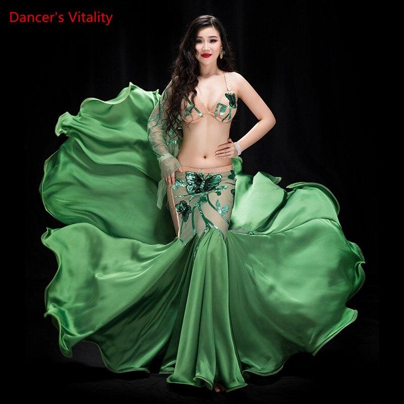 Recién llegado 2 piezas de rendimiento de danza del vientre espectáculo de baile en traje sujetador falda de cola de pez equipo de baile verde vestido negro blanco