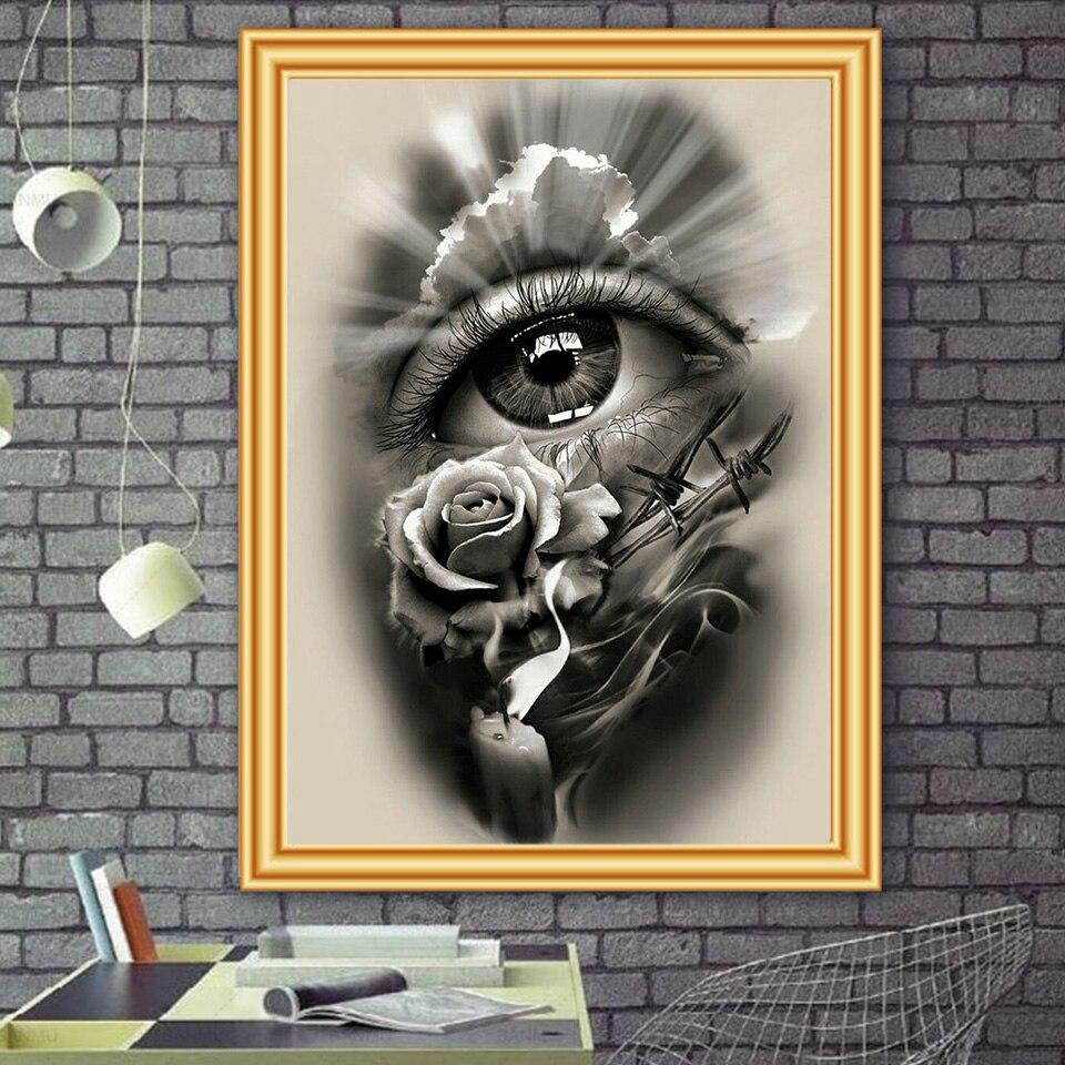 Pintura de diamantes DIY 5D, Kits de punto de cruz con ojos de flores, cuadro de mosaico bordado de diamantes de imitación, regalo para decoración del hogar