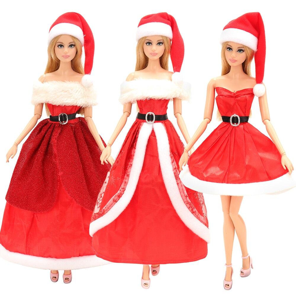 Vestido de Navidad de 3 Estilo al azar/conjunto de juguetes para niños traje sombrero rojo ropa cosas accesorio para muñecas para juego de vestir Barbie regalo DIY