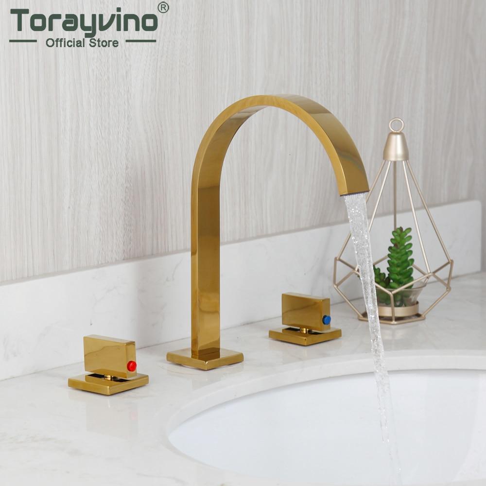 Torayvino 3 قطعة الذهب المصقول الحمام صنبور سطح شنت حوض بالوعة صنبور حوض استحمام مغسلة خلاط المياه الساخنة Cold