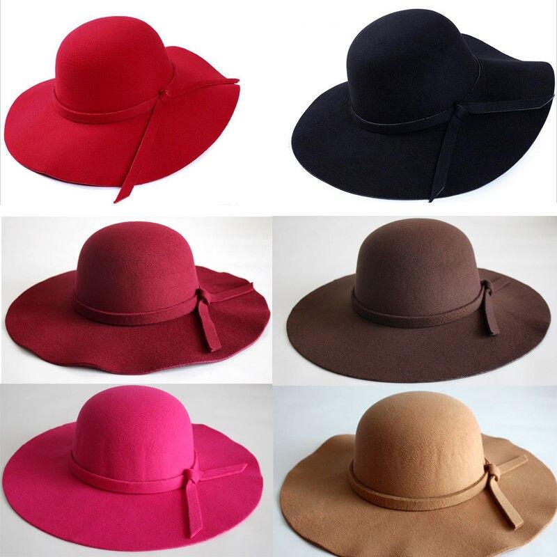 US STOCK US New Fashion Women Ladies Floppy Wide Brim Wool Felt Bowler Beach Hat Sun Cap