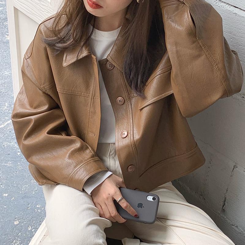 Gothic Jacket Women Korean Spring Handsome Lapel Coats Loose Casual Sleeve Motorcycle Short Coat Wom