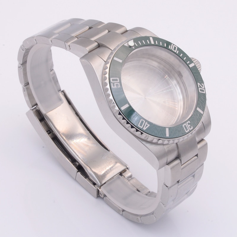 Stainless Steel Watch Case with 20mm Rolexstyle watch band Strap For NH35 NH36 Movement Sapphire Glass Ceramic bezel insert case enlarge