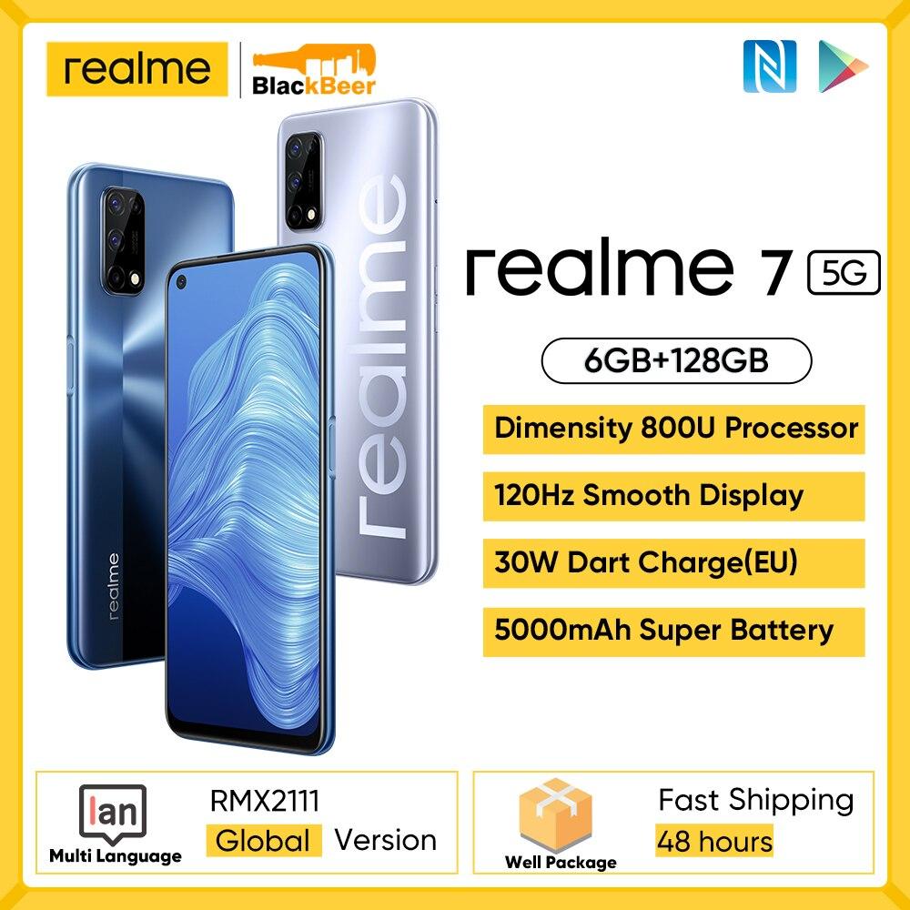 Realme 7 5G Dimensity 800U Smartphone Octa Core 6G 128G Mobile Phone Android 10 Cellphone Global Version 5000mAh 48MP Camera NFC