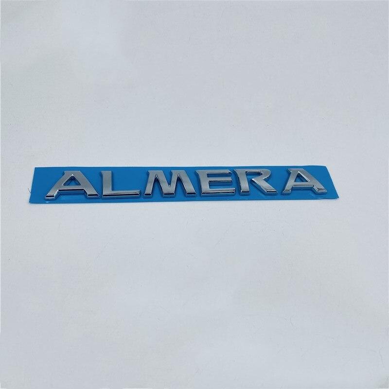 Estilo do carro para nissan almera tronco traseiro tampa cromo logotipo emblema letras emblema