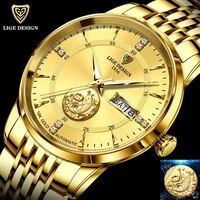 2021 lige new fashion wrist watch men automatic mechanical tourbillon stainless steel waterproof business gold watch gift clocks